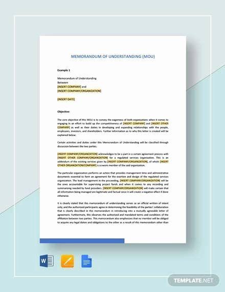 Letter Of Understanding Template Word Fresh Free 21 Sample