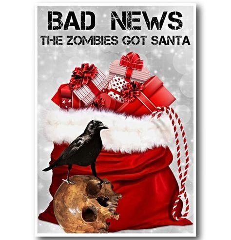 Zombies Christmas Card Funny Christmas Card Zombies Got Santa