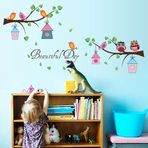 Branch Owl Kindergarten Wall Decoration