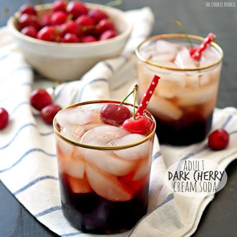 Adult Dark Cherry Cream Soda, a fun and flirty cocktail! So easy. Cream Soda, Dark Cherry Juice, and Vodka! So delicious, fresh, and easy.