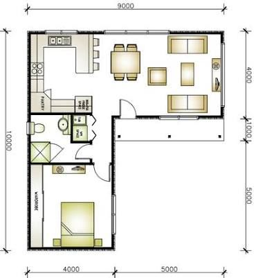 Image Result For L Shaped Granny Flat Tiny House Floor Plans Small House Floor Plans Micro House Plans