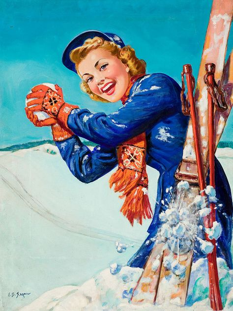 Fun on the Slopes, magazine cover oil on canvas 34 x 32 in. by Ellen Barbara Segner