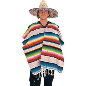 MEXICAN COWBOY SERAPE PONCHO SPANISH ADULT MENS FANCY DRESS HALLOWEEN COSTUME