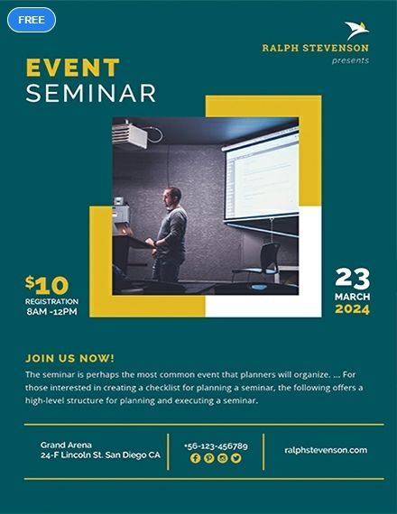Free Seminar Flyer Conference Poster Template Flyer Template
