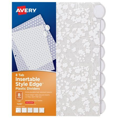 Avery Insertable Style Edge Plastic Dividers 8 Tabs Assorted Designs Walmart Com Floral Fashion Avery Page Dividers