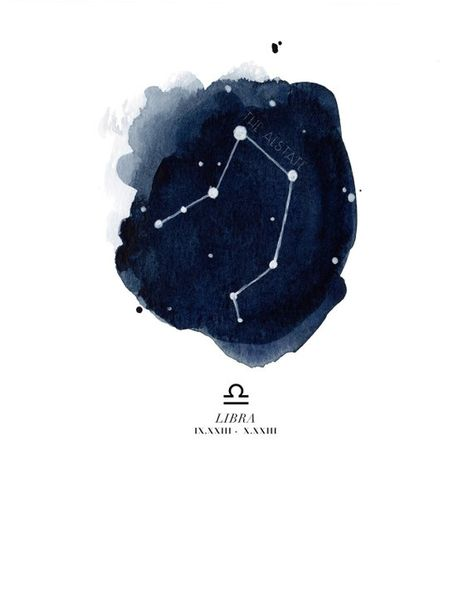 Libra constellation with symbol and dates in roman numerals. Copyright © 2014 - The Aestate.