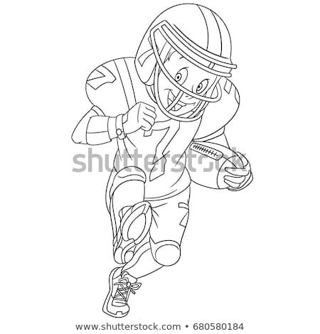 Coloring Page Of Boy Playing Rugby American Football Colouring Book For Kids And Children Cartoon Vector Illus Cartoons Vector Cartoon Clip Art Boys Playing