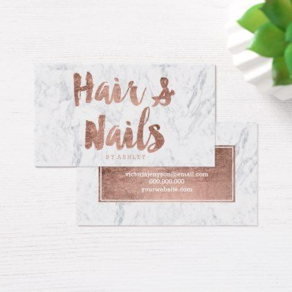 Hair Nails Modern Rose Gold Typography Marble Business Card