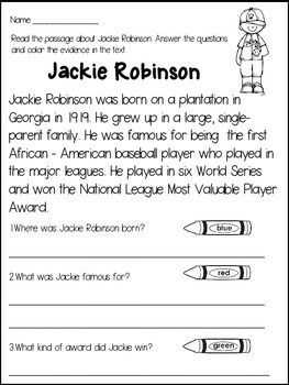 13++ Jackie robinson reading comprehension worksheets Top