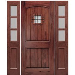 Mai Doors A79psg 1 2 Arched 2 Panel V Groove Design Exterior Door With Speakeasy And Sidelites In W Wood Exterior Door Wooden Main Door Design Main Door Design