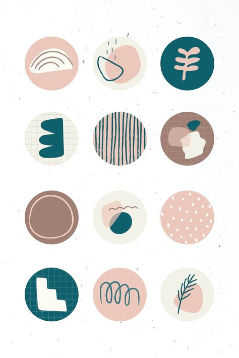 Download free vector of Minimal doodle social story highlights icon set
