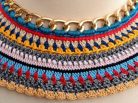 Nefertiti Collar 2 Crochet colorful tribal necklace by bibatron