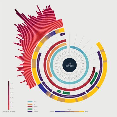 Data visualisation - Life Représentation graphique d'un parcours personnel, les arcs concentriques indiqués des périodes de la vie, l'arc externe l'humeur en fonction d'une échelle de couleur et les histogrammes ? Cette représentation peut être intéressan