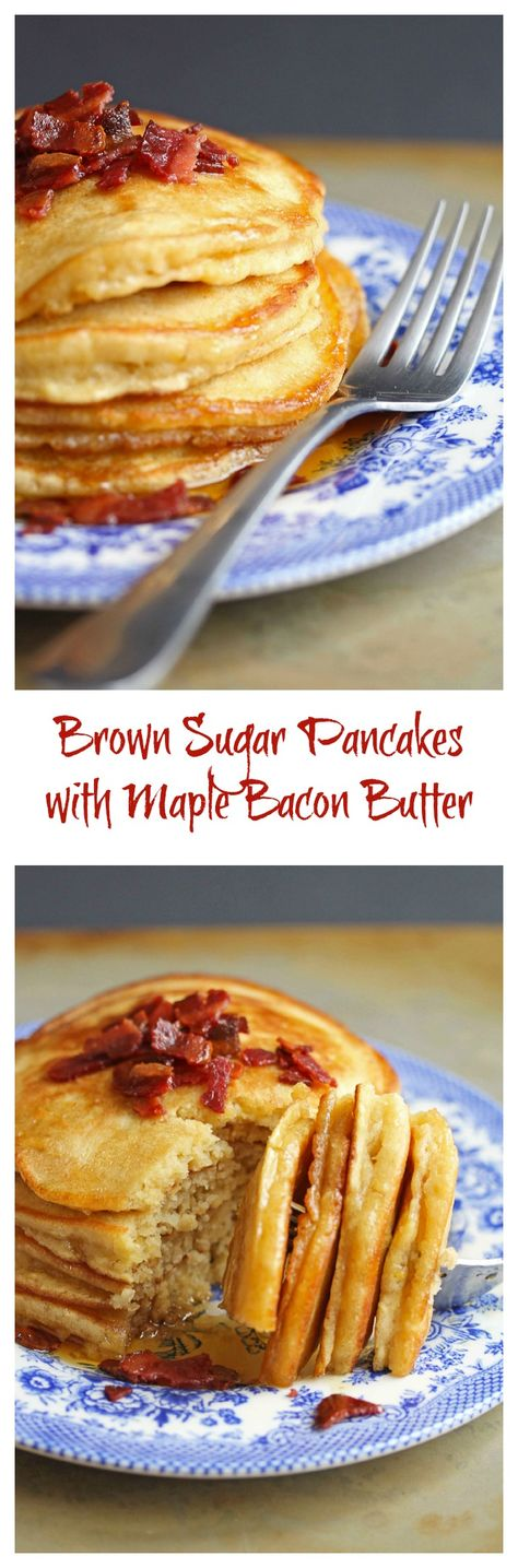 Brown Sugar Pancakes with Maple Bacon Butter | Grandbaby Cakes