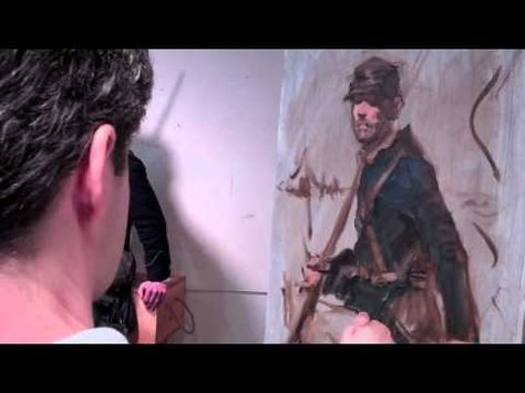 """Rob Liberace demos an alla prima portrait on the first day of his workshop, """"The Painterly Sketch: Advanced Alla-Prima Portrait."""" In part 2, Rob adds color to his portrait of a Civil War soldier."""