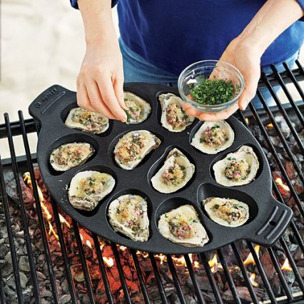 Grilled oysters are a smoky summer favorite. Cook delicious oysters on the grill or stovetop with this cast-iron oyster pan. Pan features 12 depressions perfect for holdi.