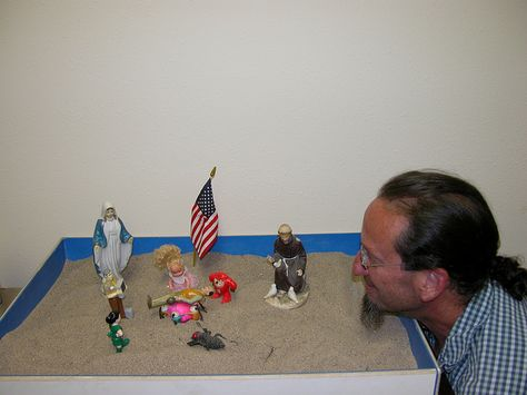 One of three sandtrays at the Counseling Center - use your imagination!