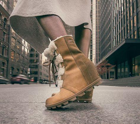 90741a0d1071 Sorel for Women - walking across the street wearing Joan Wedge Shearling  boots