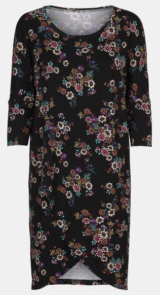 Blomstret stretch jersey kjole