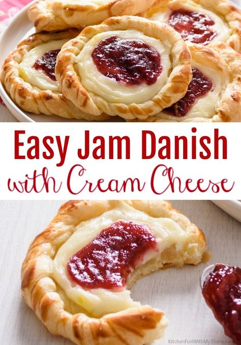Easy Cherry Danishes with Cream Cheese Strawberry Danish with Cream Cheese. The danishes start with store-bought crescent rolls and are filled with sweetened cream cheese and cherry pie filling. Best Danish Recipe Ever. Best Danish Recipe, Easy Cherry Danish Recipe, Strawberry Danish Recipe, Recipe For Danish Pastry, Easy Cream Cheese Danish Recipe, Pie Pastry Recipe, Cream Cheese Pastry, Cream Cheese Filling, Pavlova