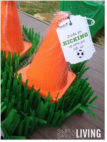 Soccer Party Favor Giveaways Opting Out Of The Bags Filled With Candy Small Toys Ribbon Bead Ring Tags