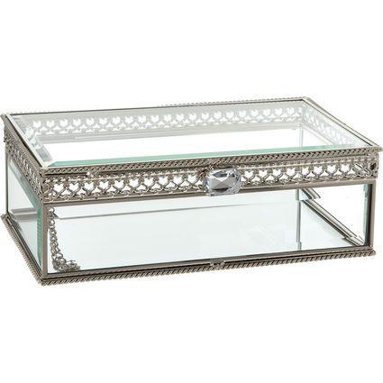 Silver Tone Glass Rectangular Jewellery Box 23x13cm Glass Jewelry Box Rectangular Jewelry Stained Glass Jewelry