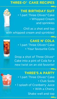 Three Olives Cake Vodka Recipes Drinks Pinterest Cake vodka