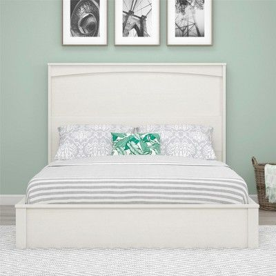 Crescent Point Queen Sized Bed And Headboard Vintage White Ameriwood Home Beds And Headboards Bed Full Size Bed