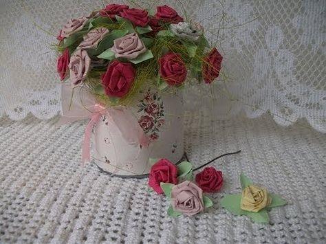 ▶ DIY: Rosinha flores de papel, paper roses tutorial crafts - YouTube