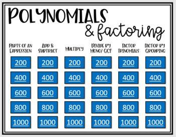 Polynomials Factoring Algebra 1 Review Game Polynomials Algebra Greatest Common Factors