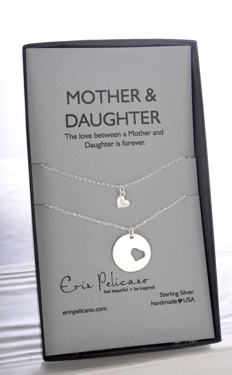Mothers Day Gifts Mom Daughter Necklace set, a classic gift for love of mother & daughter. Artisan Crafted in Sterling Silver and Gold