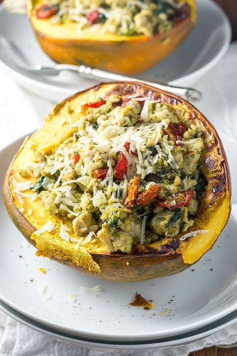 Turkey Pesto Stuffed Acorn Squash Recipe Food Recipes Food