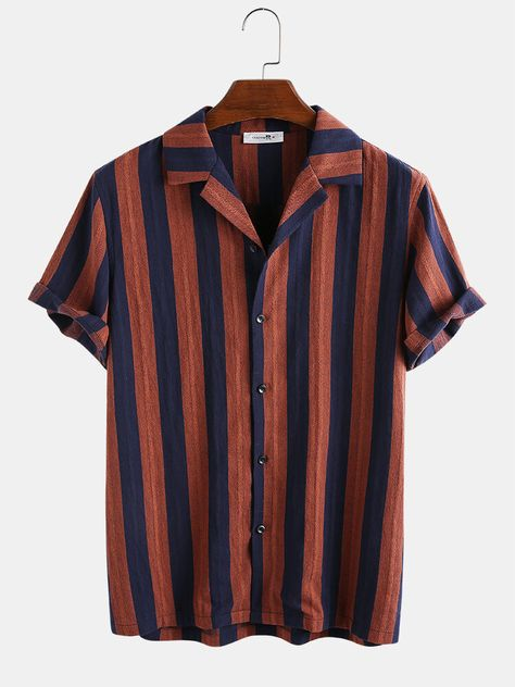 Specification :Color: Navy Blue,Black,Wine RedSize: M,L,XL,2XL,3XLMaterial: CottonStyle(Occasion): Holiday,Fashion,Casual,EverydayOccasion: Holiday,Fashion,Casual,EverydayPattern: StripedSleeve:Short SleeveFit Type: FitStyle: Casual, Fashion,HolidayThickness: RegularDecorations:ButtonsSeason: Spring, SummerClosure Type: ButtonCollar:Shirt CollarCustomer Age: 36-45 Years,26-35 YearsPackage Include: 1* ShirtPlease Note: Please see the Size Reference to find the correct size.