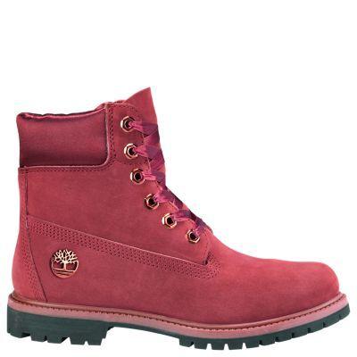 8d0a6287add39 Timberland Women's 6-Inch Premium Waterproof Boots w/Satin Collar Burgundy  Nubuck