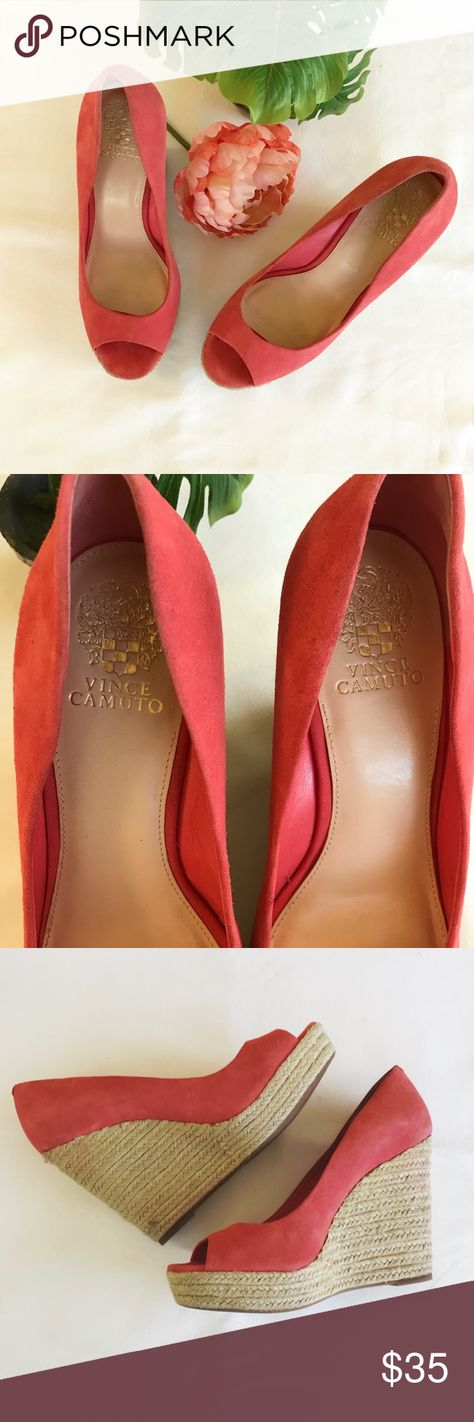 d1984f0417d Vince Camuto Totsi Peep Toe Gently used Vince Camuto Peep Toe Espadrille in  coral. Leather suede upper. Slight markings on heels from wear (see photos).