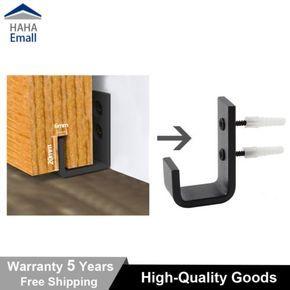 Black Steel Barn Door Hardware Sliding Bottom Floor Guide Wall