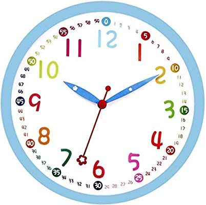 Amazon Com Lucor Colorful Kids Wall Clock 12 Inch Silent Non Ticking Quality Quartz Battery Operated Wall Clocks Easy To Rea In 2020 Wall Clock Kids Wall Clock Clock