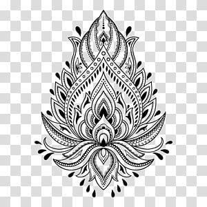 Black Flower Henna Tattoo Mehndi Stencil Template Henna Transparent Background Png Cli Geometric Pattern Art Floral Illustration Free Mandala Coloring Books