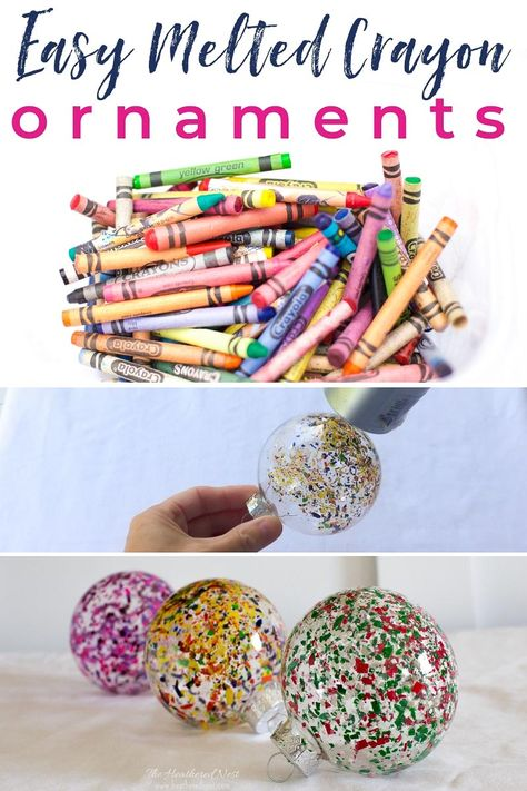 Try this Quick, Easy & Colorful DIY Christmas ornament ASAP!, DIY and Crafts, FUN and Easy DIY Christmas ornament idea! And a great way to recycle old crayons! So colorful! ornament melted crayon art from heather. Clear Glass Ornaments, Easy Christmas Ornaments, Candy Christmas Trees, Crayon Ornaments Diy, Homemade Ornaments, Christmas Decorations, Diy Christmas Art, Simple Christmas, Christmas Projects