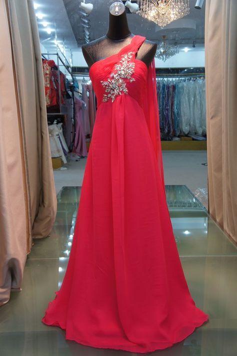 Sexy shoulder red evening dress elegant evening dresses