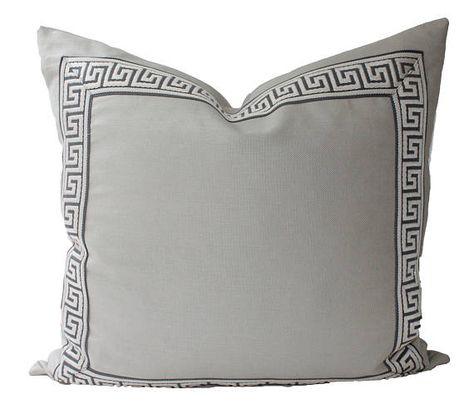 Decorative Greek Key Pillow, Pewter