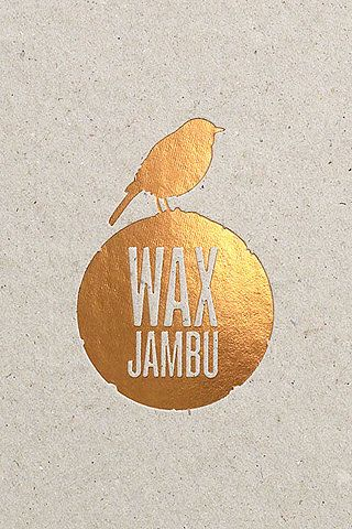 Wax Jambu - logo design. We don't often work with luxury colours, and this logo design is really making me want too. The contrast between the gold printing ad the textured paper, it works wonderfully. Great design.