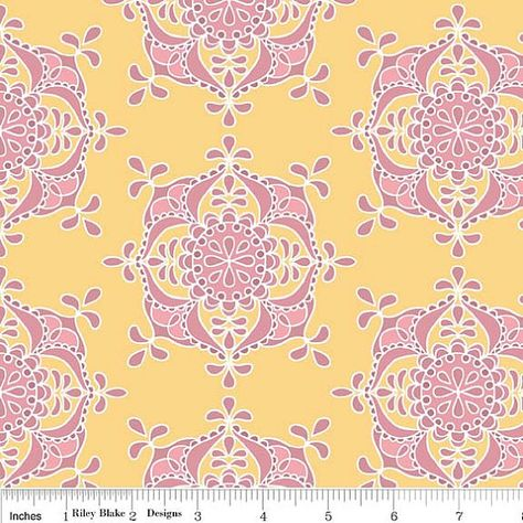 Priscilla Wallpaper Yellow Riley Blake Fabric Half yard