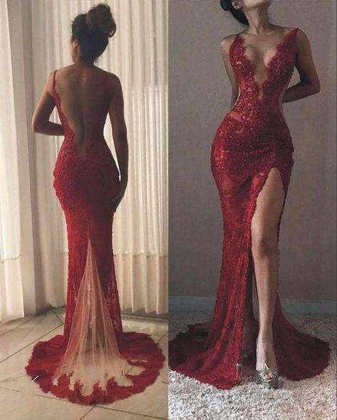 ad8417a6b8fe2 Sexy Sheath Deep V-neckline Slit Wine Red Lace Prom Dress | clothes ...