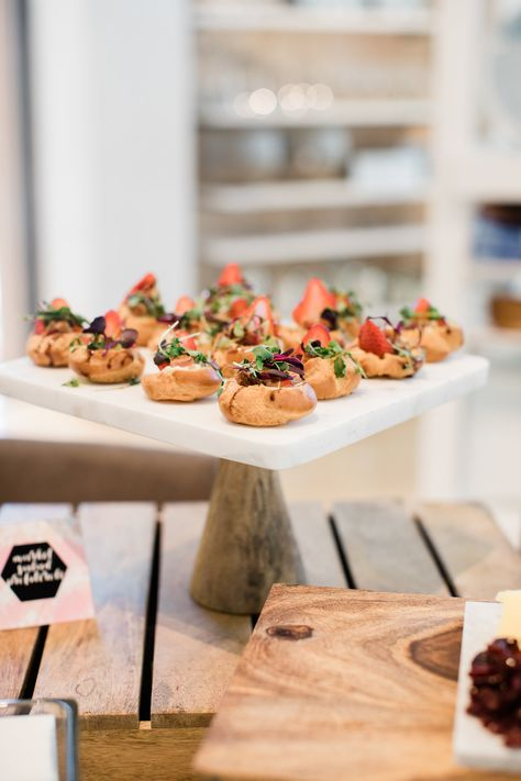 Market Salad Profiteroles With Balsamic Pearls Strawberries Pecans Gorgonzola And Micro Greens Event Catering Catering Food