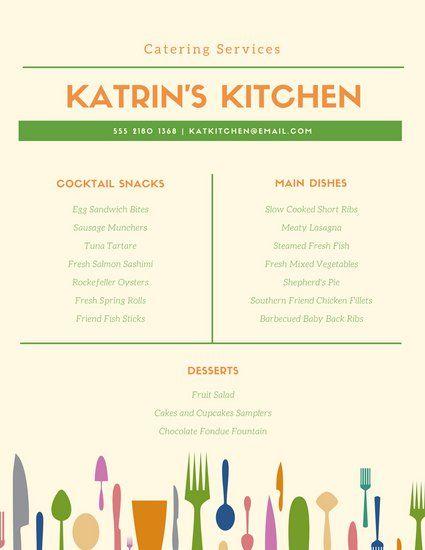 Green Orange Kitchen Catering Menu Catering Menu Menu Template Catering Menu Design