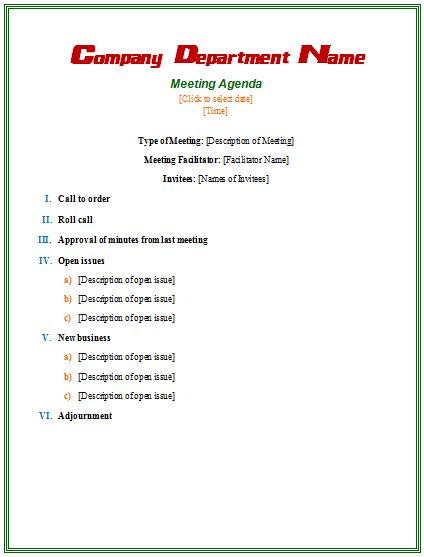 Formal-Meeting-Agenda-Template Agendas Pinterest Template - agenda meeting example
