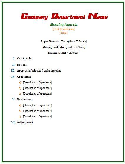 microsoft word templates agenda