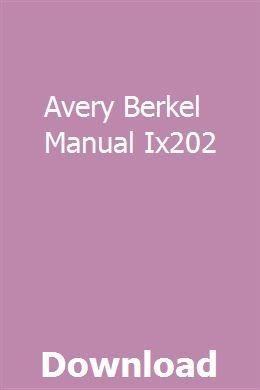 Avery Berkel Manual Ix202 User Manual Manual Car Manual