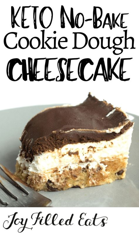 With a layer of raw chocolate chip cookie dough a layer of creamy cheesecake and a layer of rich chocolate ganache my No Bake Cookie Dough Cheesecake may be the best dessert ever. No-Bake Keto Cookie Dough Cheesecake Low Carb Grain-Free Gluten- Keto Cookies, No Bake Cookies, Cookies Et Biscuits, Cookie Diet, Vegan Sugar Cookies, Desserts Keto, Keto Snacks, Dessert Recipes, Holiday Desserts